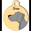 Médaille personnalisée chien gris clair poils courts