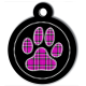 medaille_personnalisee_chien_patoune_fashion_carreaux_cerclee_rose