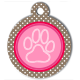 medaille_personnalise_chien_patoune_fashion_rose_pois_marron