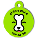 medaille_personnalisee_chien_puce_verte