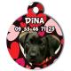 médaille personalisée chien coeurs rouges