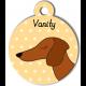 Médaille jaune chien marron type teckel levrier poils courts