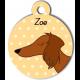 Médaille jaune chien marron type teckel levrier poils longs