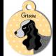 Médaille personnalisée jaune chien gros et noir oreilles longues