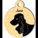 Médaille personnalisée jaune chien noir oreilles longues