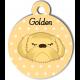 Médaille personnalisée bleu chien abricot poils jaune