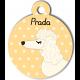 Médaille personnalisée jaune chien frisé oreilles longues blanc