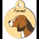 Médaille personnalisée jaune chien marron clair tâches marron foncé et blanches