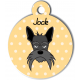 Médaille personnalisée jaune chien gris moustaches longues