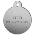 medaille_personnalisee_chien_hi_doggy_mignon_dessin_noeud_vert_dos