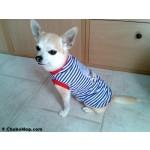 T-shirt marinière bleu pour chien