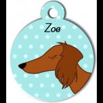 Médaille bleu chien marron type teckel levrier poils longs