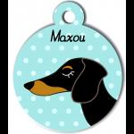 Médaille bleu chien bicolore type teckel levrier poils courts