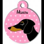 Médaille rose chien bicolore type teckel levrier poils courts