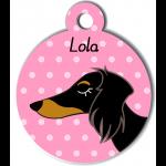 Médaille rose chien bicolore type teckel levrier poils longs