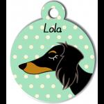 Médaille vert chien bicolore type teckel levrier poils longs