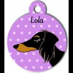 Médaille violet chien bicolore type teckel levrier poils longs