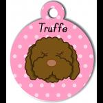 Médaille rose chien frisé marron type caniche