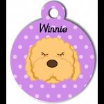 Médaille violet chien frisé abricot type caniche