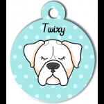 Médaille bleu chien blanc type boxer