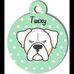 Médaille vert chien blanc type boxer