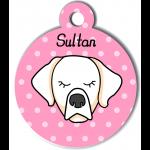 Médaille rose chien crème