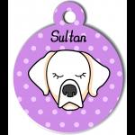 Médaille violet chien crème