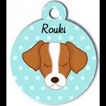 Médaille personnalisée bleu pour chien marron et blanc