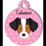 Médaille personnalisée rose pour chien marron blanc noir