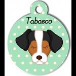 Médaille personnalisée vert pour chien marron blanc noir