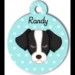 Médaille personnalisée bleu pour chien noir et blanc
