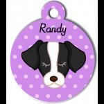 Médaille personnalisée violet pour chien noir et blanc