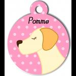 Médaille personnalisée rose pour chien crème et abricot