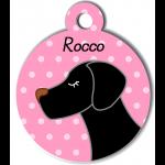 Médaille personnalisée rose pour chien noir