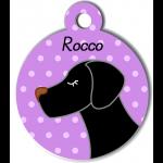 Médaille personnalisée violet pour chien noir