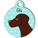 Médaille personnalisée bleu pour chien marron foncé