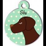 Médaille personnalisée vert pour chien marron foncé