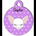 Médaille personnalisée violet pour petit chien blanc