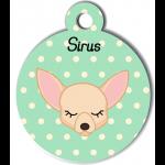 Médaille personnalisée vert pour petit chien crème