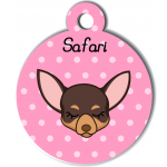 Médaille personnalisée rose pour petit chien marron et crème