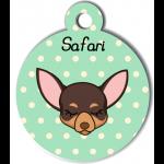 Médaille personnalisée vert pour petit chien marron et crème