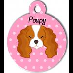 Médaille personnalisée rose pour chien blanc et marron clair