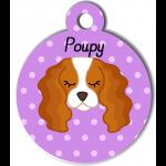 Médaille personnalisée violet pour chien blanc et marron clair