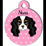 Médaille personnalisée rose pour chien blanc noir et marron clair