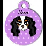 Médaille personnalisée violet pour chien blanc noir et marron clair