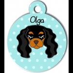 Médaille personnalisée bleu pour chien noir et marron clair