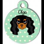 Médaille personnalisée vert pour chien noir et marron clair