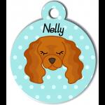 Médaille personnalisée bleu pour chien marron clair