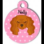 Médaille personnalisée rose pour chien marron clair