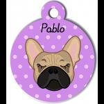 Médaille personnalisée violet chien crème oreilles droites
